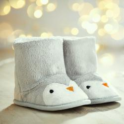 My 1st Years Personalized Gray Penguin Booties