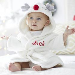 My 1st Years Personalized White Reindeer Robe