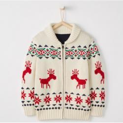 Hanna Andersson Dear Deer Zippered Sweater In Cotton & Merino
