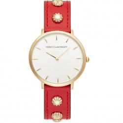 Major gold tone red studded strap watch 35mm