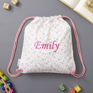 My 1st Years Personalized Ditsy Print Drawstring Bag