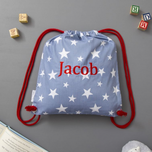 My 1st Years Personalized Navy Star Print Drawstring Bag