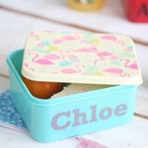 My 1st Years Personalized Flamingo Print Mini Lunchbox