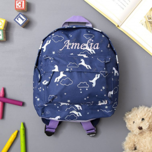 My 1st Years Personalized Navy Unicorn Backpack