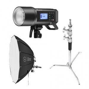 """Flashpoint XPLOR 600 HSS TTL R2 Monolight Kit With C-Stand & Glow 38"""" ParaPop"""