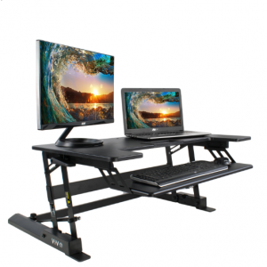 VIVO HEIGHT ADJUSTABLE STANDING DESK MONITOR RISER GAS SPRING | BLACK TABLETOP SIT TO STAND WORKST