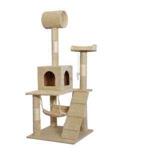 "55"" CAT TREE TOWER CONDO W/ HAMMOCK - BEIGE"