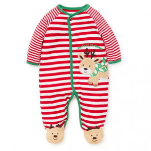 Little Me Baby's Reindeer-Print Cotton Footie