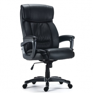Staples Lockland Bonded Leather Big & Tall Managers Chair, Black