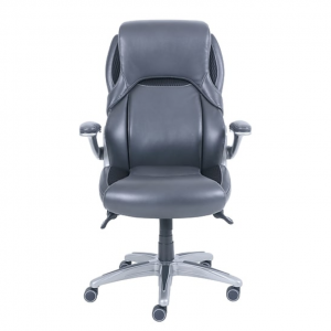 Dormeo Bristol Octaspring Bonded Leather Executive Office Chair, Adjustable Arms, Dark Gray (49583