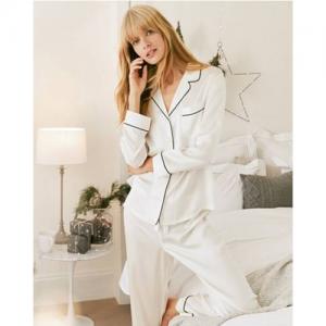 Silk Contrast Piped Silk Pajama Set