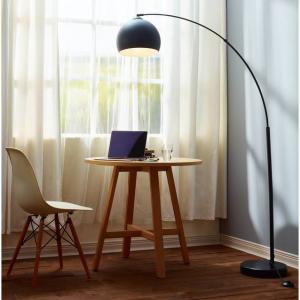 Maison Arc Floor Lamp, Black Shade and Black Marble Base
