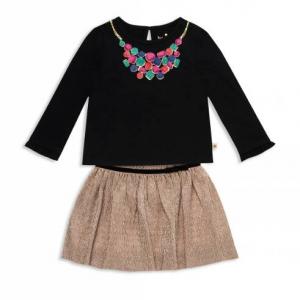 kate spade new york Girls' Metallic Knit Skirt Set - Baby