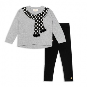 kate spade new york Girls' Trompe L'Oeil Scarf Sweater & Leggings Set - Little Kid