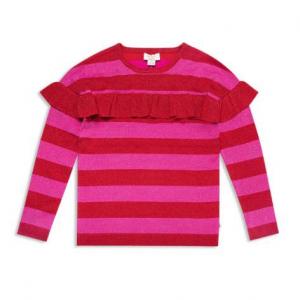 kate spade new york Girls' Ruffled Metallic-Knit Striped Sweater - Big Kid