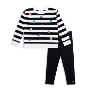 kate spade new york Girls' Sequin Dot Striped Sweatshirt & Leggings Set - Little Kid