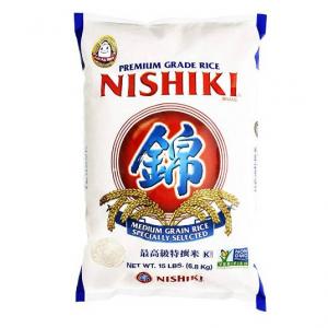 Nishiki Premium Rice, Medium Grain, 15-Pound Bag