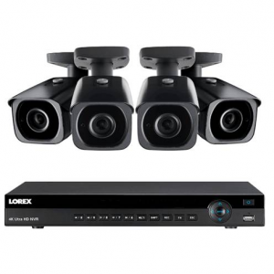 4K Ultra HD IP NVR System, 8 Channel, 4 Outdoor 4K IP 8MP Cameras, 200ft Color Night Vision @Lorex