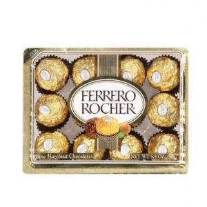 FERRERO ROCHER ITALIAN CHOCOLATE HAZELNUT CANDY 12 PC BOX