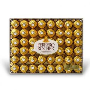 Ferrero Rocher Fine Hazelnut Chocolates, Chocolate Gift Box, 48 Count Flat, 21.2 oz