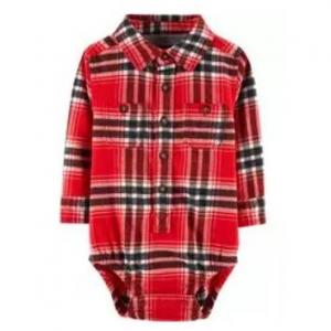Button-Front Flannel 바디수트