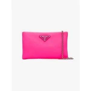 Prada Fluorescent Pink Clutch Bag With Chain