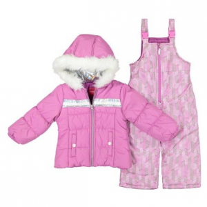 London Fog Little Girl's Two-Piece Faux Fur Trim Hologram Snowsuit Set