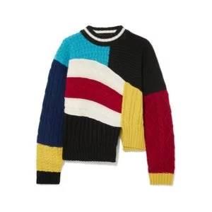 MSGM Maglia asymmetric color-block cable-knit sweater
