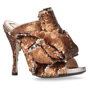 No. 21 Embellished Sequin Bow Mules 105