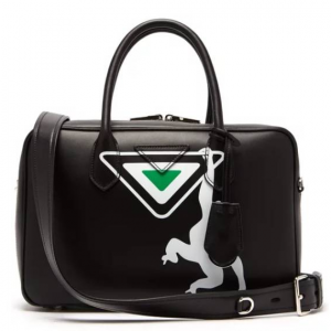 PRADA  Monkey-print leather bowling bag