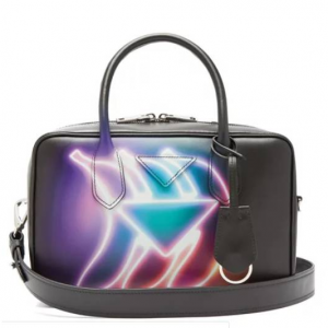 PRADA  Banana-print leather bowling bag