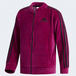 GIRLS TRAINING PINK VELOUR BOMBER JKT