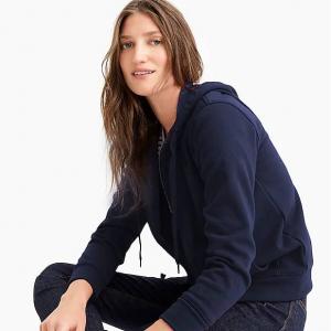 Velour-lined hoodie sweatshirt