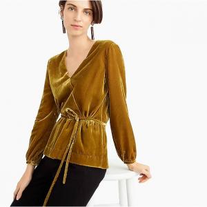 Faux-wrap top in drapey velvet
