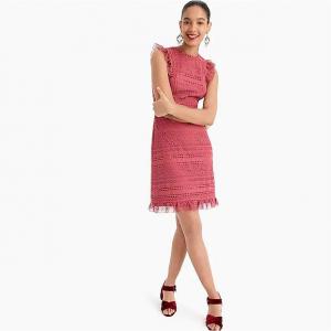 Cap-sleeve ruffle dress in mixed lace
