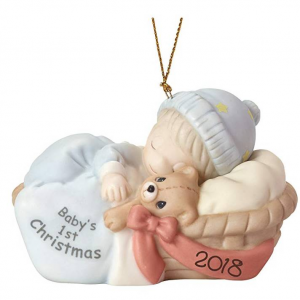 "Precious Moments"" First Christmas 2018"" Baby Boy Ornament, Multicolor"