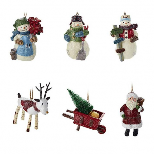 Hallmark Christmas Ornaments Set of 6, Gary Head Snowman, Santa and Reindeer Holiday Decorations