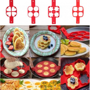 Nonstick Pancake Maker Mold Silicone Egg Ring Square Heart Round 4/7/10 Holes Fried Eggs Mold Kitc