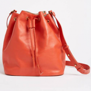 Leather Bucket Bag - Bright Red
