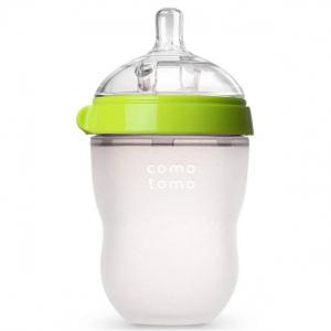 Comotomo Natural Feel Baby Bottle, Green, 8 Ounces