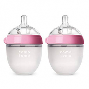 Comotomo Baby Bottle, Pink, 5 Ounce, 2-Count