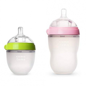 Comotomo Natural Feel Bundle - 2 Items: 8 Ounce & 5 Ounce Baby Bottles, Pink/Green
