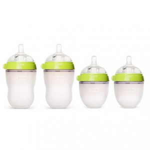 Comotomo - Baby Bottles - Baby Feeding - Green - 4 Pack - Two 5 Ounce Bottles and Two 8 Ounce Bott