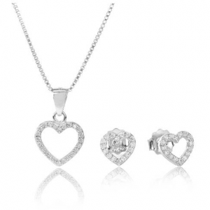 TJH COLLECTION SILVER CUBIC ZIRCONIA OPEN 하트 기프트 세트