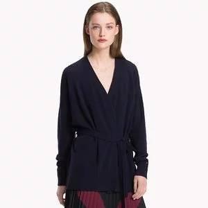 Tommy Hilfiger Wool Tie-Belt Cardigan Sweater