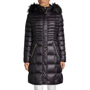 Karl Lagerfeld Paris Faux Fur-Trimmed Down Jacket