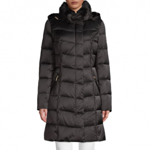 Tahari Faux Fur-Trimmed Down Puffer Coat
