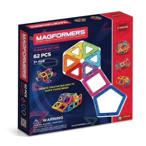 Magformers Basic Set (62-pieces) Magnetic Building Blocks, Educational Magnetic Tiles, Magnetic Bu