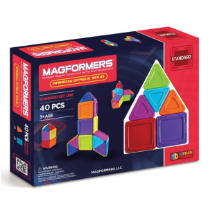 Magformers Rainbow Opaque Solid (40-Pieces) Set Magnetic Building Blocks, Educational Magnetic Til