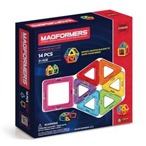 Magformers Basic Set (14-pieces) Magnetic Building Blocks, Educational Magnetic Tiles Kit , Magnet